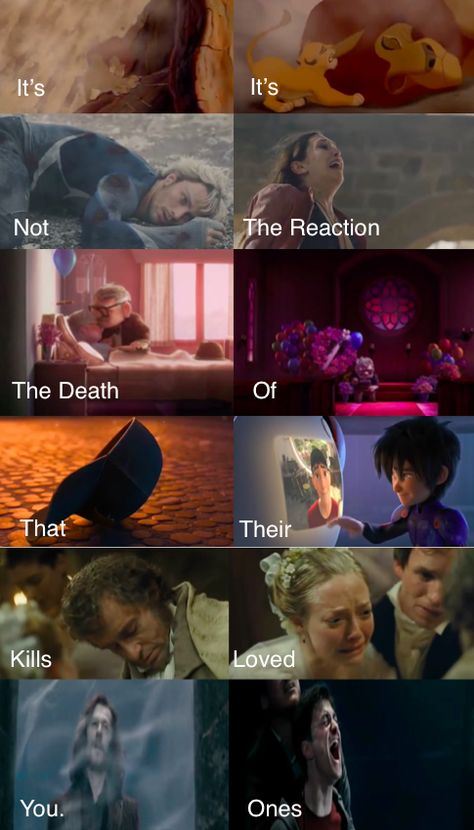 SPOILERS! It's Not The Death That Kills You. It's The Reaction Of Their Loved Ones. Lion King, Avengers Age of Ultron, Big Hero Six, Les Mis, and Harry Potter.