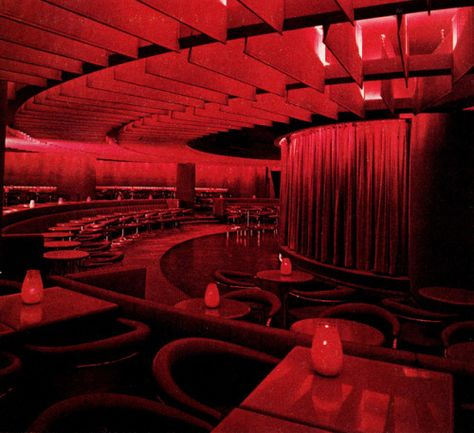 Bonaventure Hotel, Cabaret, Los Angeles, California, architect John Portman photo via Cabaret, Burgundy Aesthetic, Neon Aesthetic, Nightclub Design, I See Red, Red Wallpaper, Red Rooms, Rainbow Wall, California