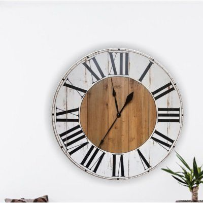 Gracie Oaks Oversized Bryan Farmhouse Wall Clock Size Medium Farmhouse Wall Clocks Wall Clock Big Wall Clocks