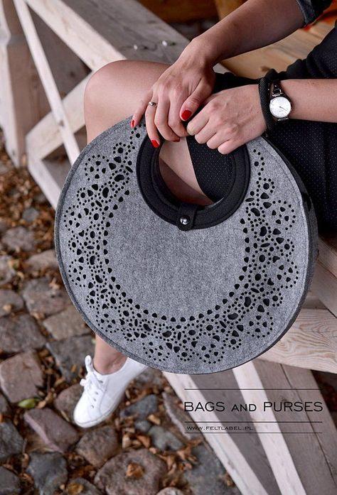 Felt bag gray felt bag FeltLace lace pattern casual hand bag for women medium size for her round handbag black felt