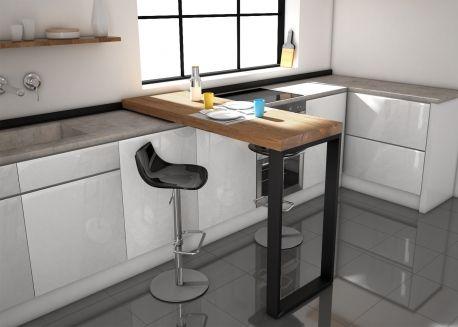 Table Mobile Coulissante En Stratifie Chene Blanc Ou Chene Naturel Slide Par Cancio Mesas Altas Cocina Barras De Cocina Muebles De Cocina