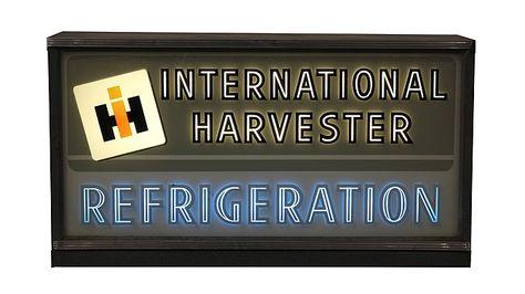 International Harvester 24x14x6 presented as lot S28. #Mecum #WalkerSignCollection #Neon #Porcelain