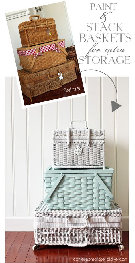 These cute woven storage baskets are DIY gold and you can often find them at thrift stores Thrift store crafts The Ultimate Guide to Thrift Store Shopping Thrift Store Shopping, Thrift Store Crafts, Thrift Stores, Thrift Store Finds, Thrift Store Decorating, Decorating Baskets, Furniture Makeover, Diy Furniture, Furniture Projects