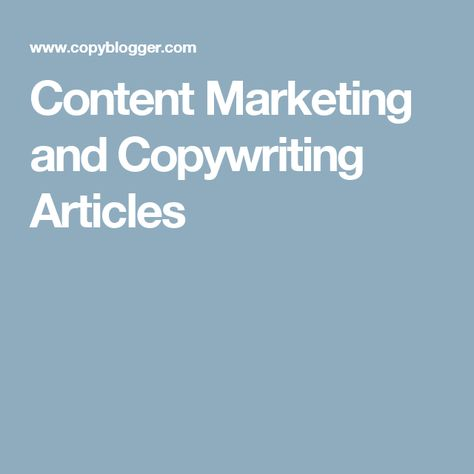 Content Marketing and Copywriting Articles