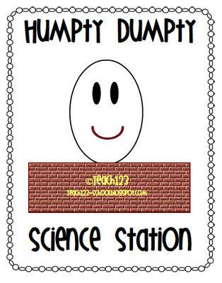 humpty dumpty, science center from PreK+K Sharing