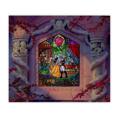 Disney Beauty and the Beast Castle Stained Glass Window Sublimation 20oz Skinny Drink Tumbler