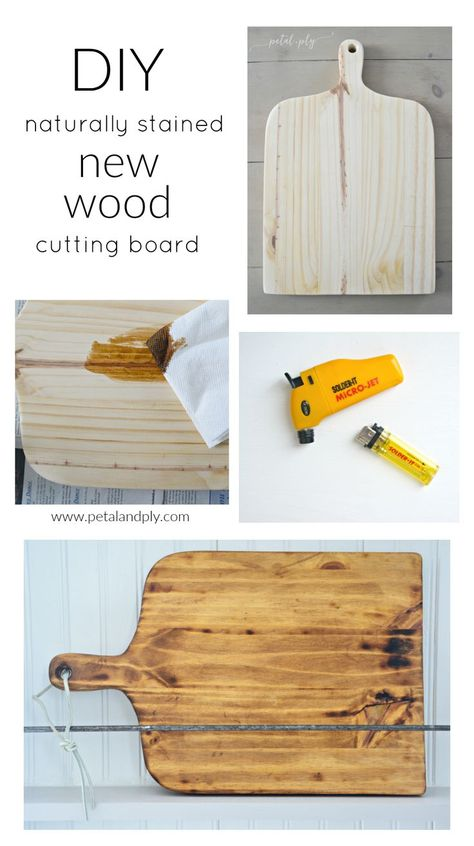 Try this natural stain! Perfect for surfaces that come in contact with food! Woodworking Saws, Woodworking Projects Diy, Diy Wood Projects, Wood Crafts, Chalk Crafts, Youtube Woodworking, Diy Cutting Board, Wood Cutting Boards, Diy Wood Stain