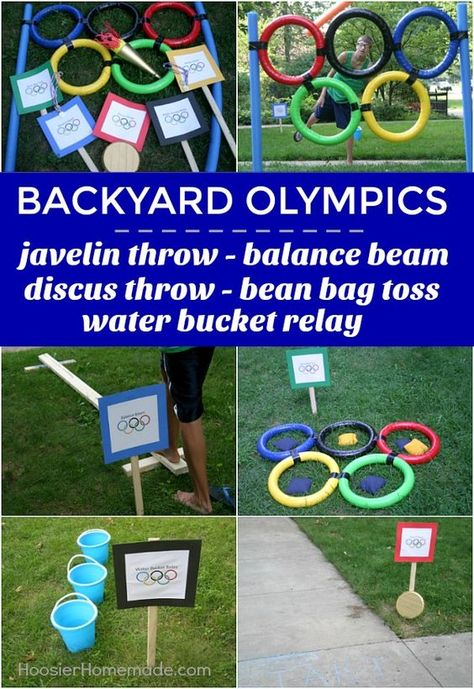 BACKYARD OLYMPICS -- Get the whole family involved in the Olympic Games! These fun and EASY Backyard Olympic Games include Javelin Throw, Balance Beam, Discus Throw, Bean Bag Toss and Water Bucket Relay! Summer Olympics Sports, Office Olympics, Kids Olympics, Beer Olympics Party, 2020 Olympics, Special Olympics, Olympic Games For Kids, Olympic Idea, Sports Games For Kids