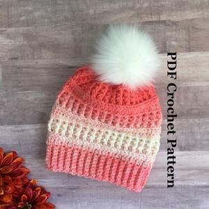 Crochet Beanie Pattern Market Basket Beanie Winter Hat Pattern Mommy And Me Womens Child Baby Hat Pattern Hat Pattern In 5 Sizes Crochet Beanie Pattern Crochet Patterns Crochet Hat Pattern