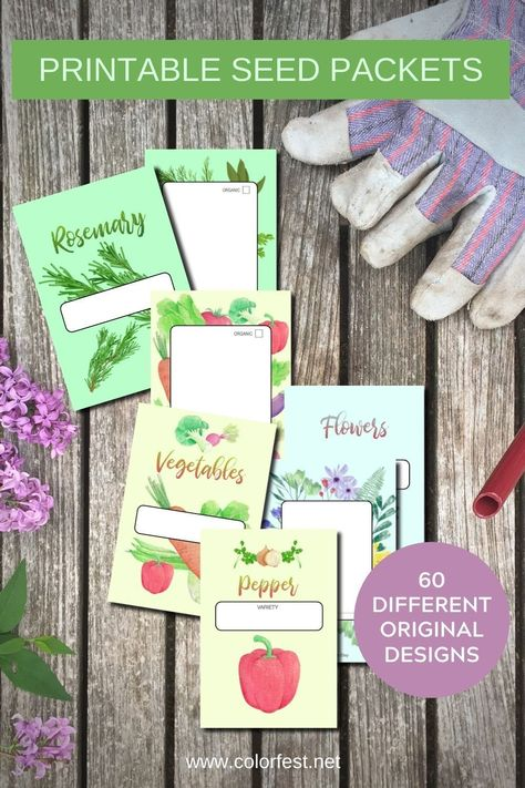 Download, print, cutout and glue. Makes 120 packets with 60 different designs for vegetables, herbs and flowers. Perfect for saving your homegrown seeds and great for sharing and trading them with friends and fellow gardeners. #gardenersgift #seedpackets