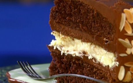 Chocolate layer cake with cheesecake filling