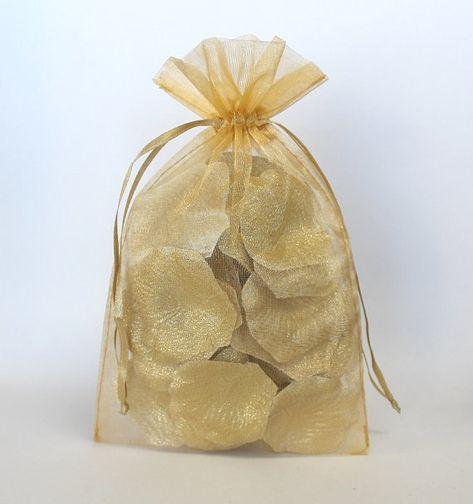 100 Gold Organza Bags Sheer Favor Bags Organza Jewelry Bags