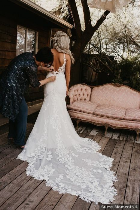 Fall wedding dress ideas - low back sleeveless floral designs details lace train v neck white trumpet mermaid rustic {Suess Moments} Wedding Dress Low Back, Cute Wedding Dress, Rustic Wedding Dresses, Long Wedding Dresses, Backless Wedding, Empire Wedding Dresses, Blush Lace Wedding Dress, Bohemian Lace Wedding Dress, Lace Trumpet Wedding Dress