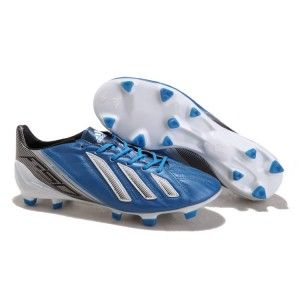 Best Gift Adidas adizero miCoach Leather FG - Blue Black White Soccer Boots  On Sale