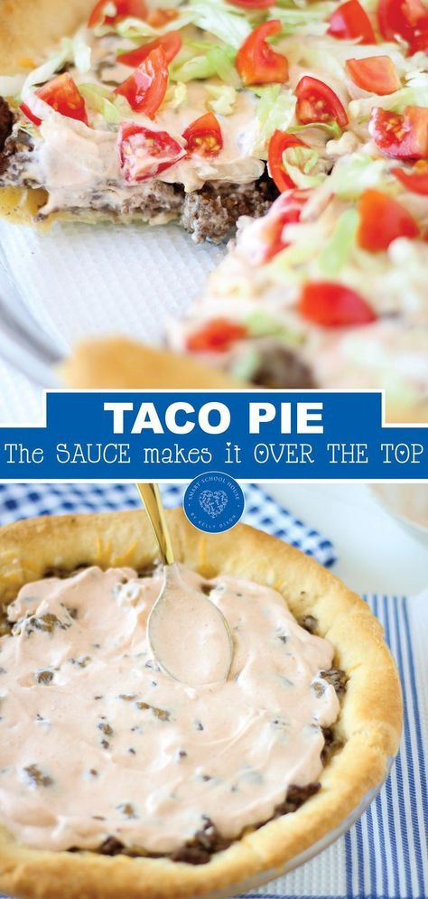 Everyone loves tacos and everyone loves pie. Putting them together makes a delicious new addition to your recipe lineup. Try this delicious taco pie with the special sauce that makes it a favorite for Taco Tuesday or any other day. This recipe is sure to be one your family asks for over and over. #tacotuesday #tacopie #beefrecipe #dinner #crescentrollsrecipe #homemade #smartschoolhouse