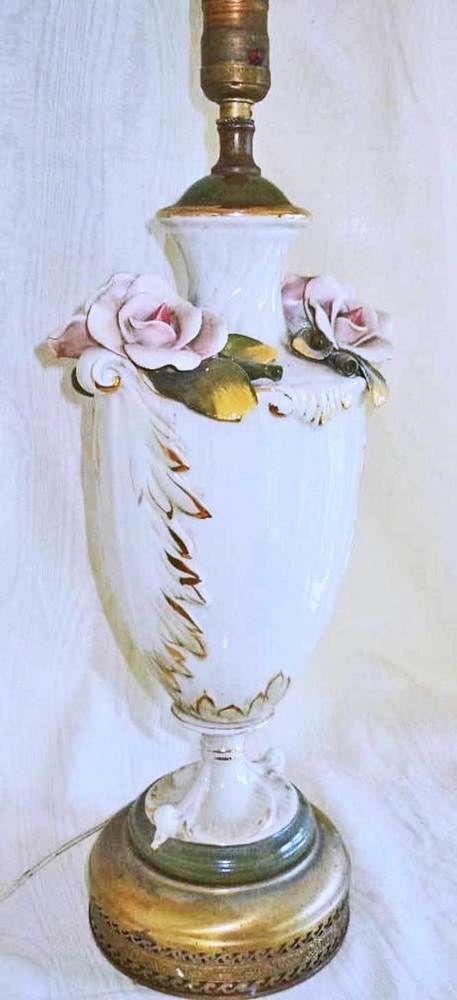 Vintage Capodimonte Porcelain Lamp Roses Flowers Pink Floral Regency Decor Porcelain Lamp Antique Lamps Porcelain Dolls Value