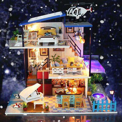 LED Light Wooden 3D DIY Dollhouse Miniature Furniture Decor Doll House Kid Gift