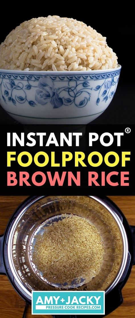 Instant Pot Brown Rice No more uncooked, burnt or mushy brown rice. Cut short half the cooking time & make perfect Instant Pot Brown Rice (Pressure Cooker Brown Rice) in 20 minutes! Set it and forget it. Pressure Cooker Brown Rice, Best Pressure Cooker, Instant Pot Pressure Cooker, Pressure Cooker Recipes, Pressure Cooking, Perfect Cooker Recipes, Best Instant Pot Recipe, Instant Pot Dinner Recipes, Kitchens