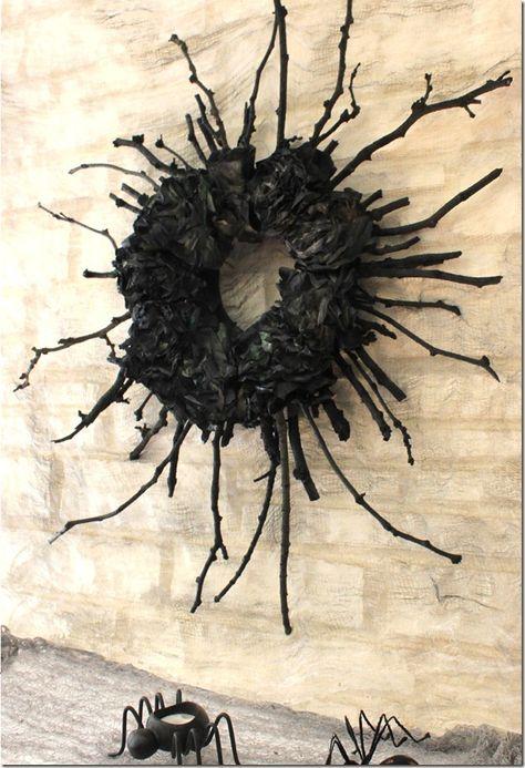 Spooky Halloween Stick Wreath