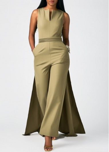 Sleeveless Overlay Embellished Split Neck Pocket Jumpsuit | Rosewe.com - USD $37.12