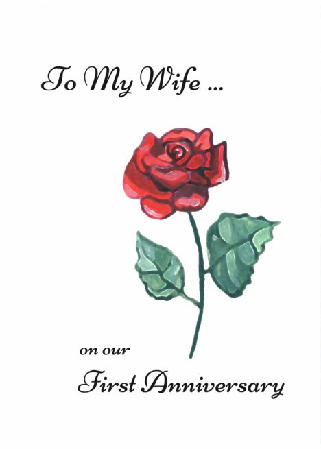 To Wife On First Anniversary Painted Rose Card Ad Ad Anniversary Wife Painted Card First Anniversary Anniversary Cards