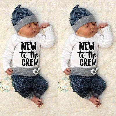 Newborn Kid Baby Boy Girl 3pcs Clothes Jumpsuit Romper Long Pants Hat Outfit Set