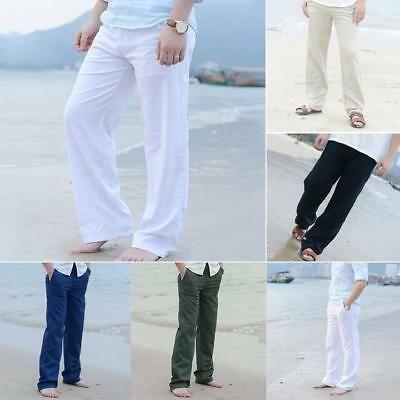 Mens Linen Cotton Loose Pants Beach Drawstring Yoga Casual Long Slacks Trousers