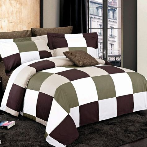 North Home Bedding Parker Brown Twin 4 Piece Duvet Cover Set