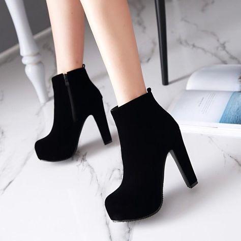 Flock Zipper Platform Ankle Boots High Heels 3828 Heel height: 12 cm Platform height: 4 cmSole: 10 cmCircle: 26 cmColour: Black, RedSize: US 12 Thickness: cm (When Plus / Minus A -Size thickness is: inches) Platform Ankle Boots, Platform High Heels, High Heel Boots, Shoe Boots, Black Platform, Ankle Boot Heels, Black Boots With Heels, Black Heeled Ankle Boots, Calf Boots