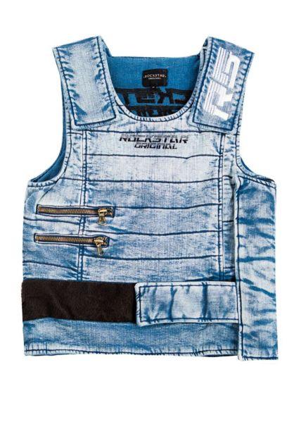 Summer Lught Blue Denim Bullet Proof Vest (Metal Not Included) Rockstar Original Patch Work RS Logo Dry Clean Only