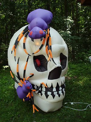 Gemmy skull with Spiders halloween inflatable yard decoration