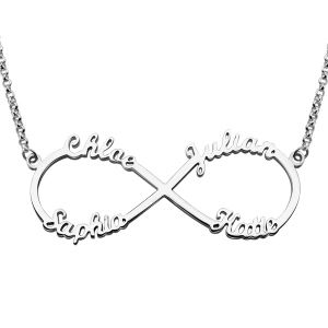 Silver Necklace Personalized Infinity Necklace in Sterling Silver Promise Necklace Christmas Gift Valentine Gift