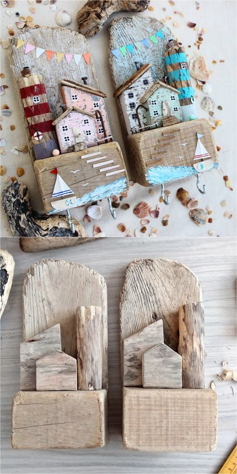 Driftwood Key Holder Driftwood Key Holder for Wall with Wooden Houses Beach Crafts, Home Crafts, Diy And Crafts, Arts And Crafts, Driftwood Projects, Driftwood Art, Painted Driftwood, Wooden Art, Wooden Crafts