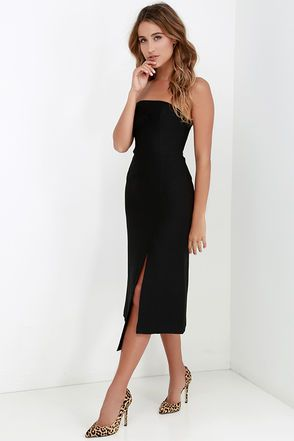86b343dae85c Cameo Seasons Change Black Strapless Midi Dress in 2019 | Dress Up ...