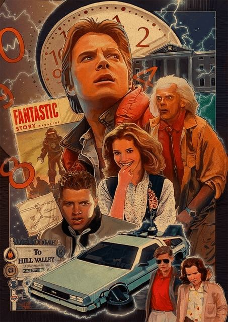 Back to the Future Poster With Characters From Back to the Future II. Various Sizes Available. - 35x50cm