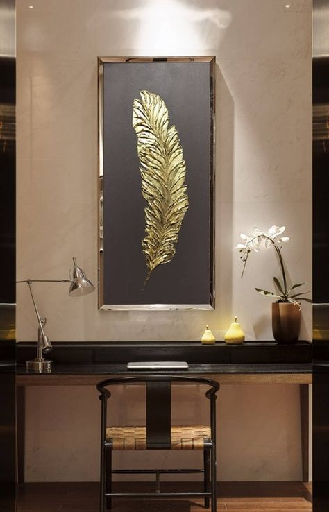Gold Abstract Art Oil Painting Decorative Interior Panel Wall Decor Golden Feather Wall Art Canvas W