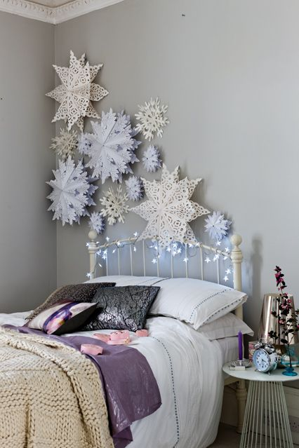 Christmas Decorating - Bedroom Ideas, Furniture & Designs (houseandgarden.co.uk)Cluster oversized paper snowflakes for a beautifully wintry bedroom wall. You could also suspend them from the ceiling.