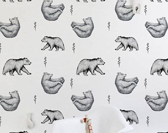 Yoga Bears Removable Wallpaper Grizlee Animal Wall Mural Repositionable Black And White Wallpa Kids Wallpaper Removable Wallpaper Black And White Wallpaper