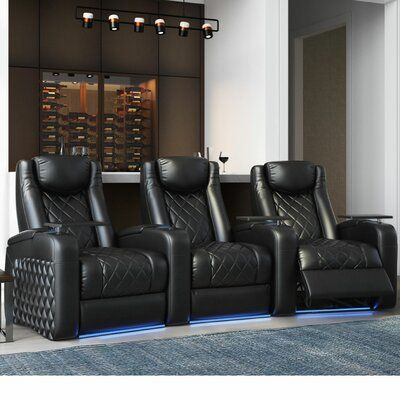 Red Barrel Studio Azure Recliner Home Theater Row Seating Row Of 3 Home Theater Seating Theater Recliners Home