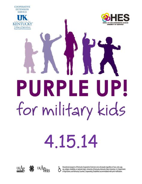 The University of Kentucky Family & Consumer Sciences Extension invites you to join us for the 4th annual Purple Up! for Military kids celebration by wearing purple on April 15th.  This is a visible way to show support and thank military children for their strength and sacrifices.  Purple symbolizes all branches of the military, as it is the combination of Army green, Marine red, and Coast Guard, Navy, and Air Force blue.