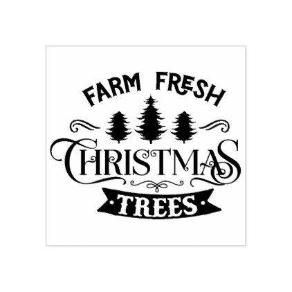 Farm Fresh Christmas Trees Typography Rubber Stamp Zazzle Com Fresh Christmas Trees Christmas Tree Farm Custom Holiday Card