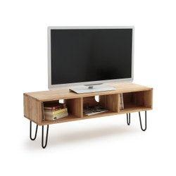Table Basse Chene Et Acier Hiba En 2020 Television Table Basse Chene Meuble Tele Design