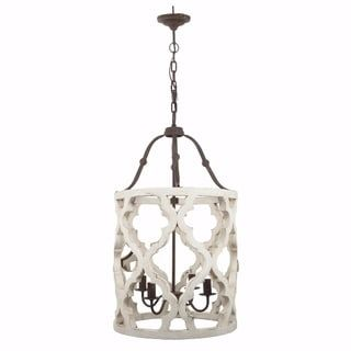 Shop For Joliette 4 Light Wood Chandelier White Ships To Canada At Overstock Ca Your Online Home Dec Wooden Chandelier Wood Chandelier Shabby Chic Lighting
