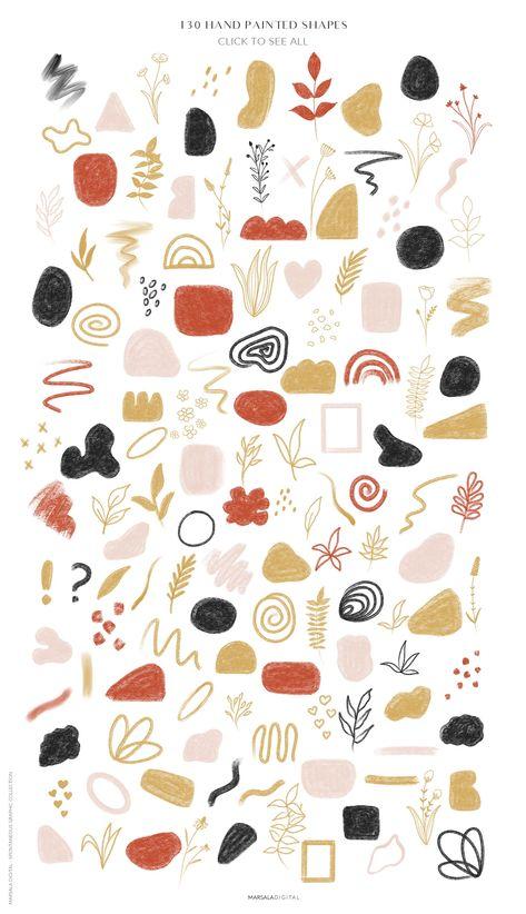 Botanical Line Art Abstract Shapes