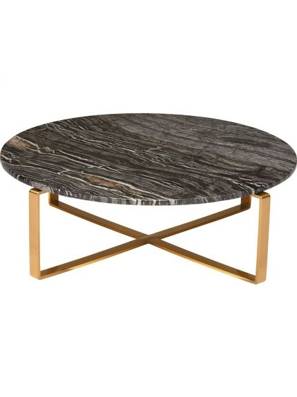 Rosa Coffee Table In Black Stone Top And Brushed Gold Base