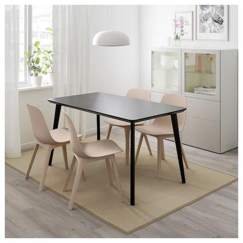 Ikea Eetkamer Stoelhoezen.Lisabo Tafel Zwart Stoelen Tafelpoten En Ikea