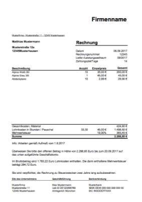 Rechnungsvorlagen Und Muster Zum Herunterladen 2