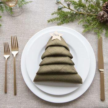 Christmas Tree Napkin Fold Table Setting With Name Tags Christmas Tree Napkins Christmas Tree Napkin Fold Christmas Napkin Folding