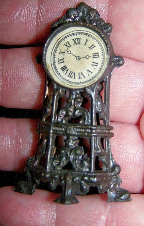 Dollhouse Miniature Victorian Gold Ornate Mantle Clock by International Minia...