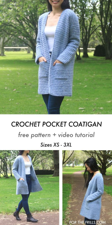 This oversized crochet cardigan sweater pattern is cosy, comfy and perfect for fall! With a long body, loose sleeves and pockets the Briar Cardigan is a free, easy crochet cardigan pattern. Free crochet pattern and video tutorial. Crochet Jacket Pattern, Crochet Jumper, Crochet Coat, Easy Crochet Patterns, Crochet Clothes, Simple Crochet, Modern Crochet, Crochet Granny, Crochet Cardigan Pattern Free Women